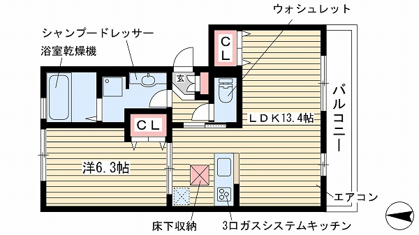 神戸市灘区岩屋中町(阪神本線岩屋)のマンション間取画像