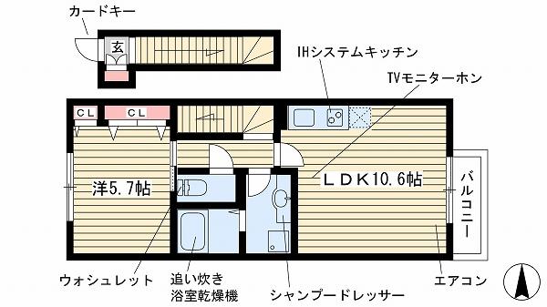 神戸市北区山田町下谷上(北神急行線谷上)のハイツ間取画像