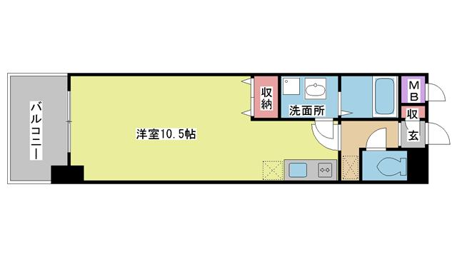 神戸市中央区日暮通(JR東海道本線(近畿)三ノ宮)のマンション間取画像