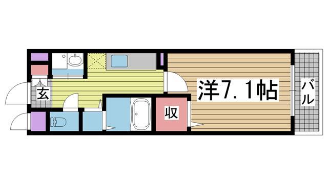 神戸市須磨区神撫町(神戸市営地下鉄線板宿)のハイツ間取画像