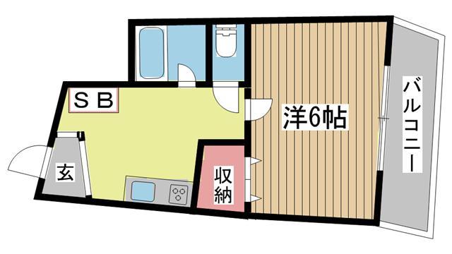 神戸市中央区中山手通(JR東海道本線(近畿)三ノ宮)のマンション間取画像