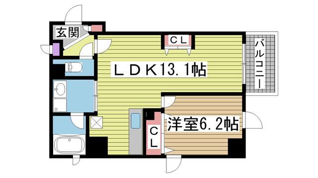 神戸市中央区加納町(神戸市営地下鉄線新神戸)のマンション間取画像