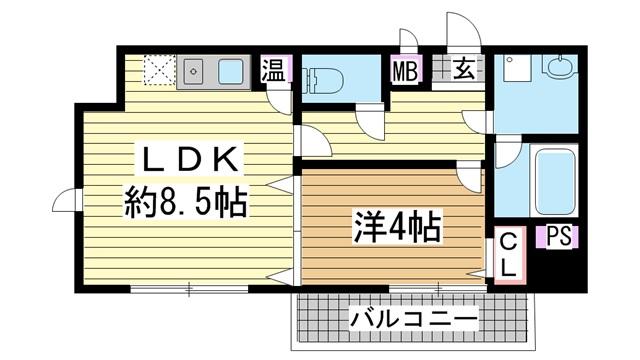 神戸市東灘区魚崎西町(六甲アイランド線魚崎)のマンション間取画像