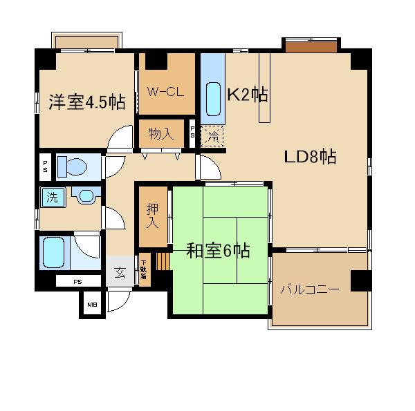 神戸市須磨区北町(JR山陽本線須磨海浜公園)のマンション間取画像