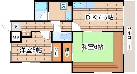 神戸市長田区腕塚町(神戸市営地下鉄海岸線新長田)のマンション間取画像