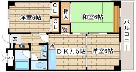 神戸市長田区房王寺町(神戸電鉄有馬線長田)のマンション間取画像
