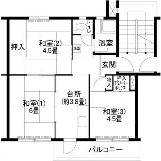 神戸市西区北山台(神戸電鉄粟生線緑が丘)のハイツ間取画像