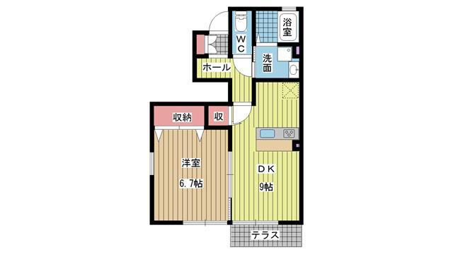 神戸市北区鈴蘭台北町(神戸電鉄粟生線鈴蘭台)のハイツ間取画像