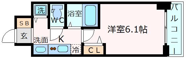 神戸市中央区国香通(JR東海道本線(近畿)三ノ宮)のマンション間取画像