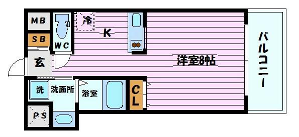 神戸市中央区東雲通(JR東海道本線(近畿)三ノ宮)のマンション間取画像